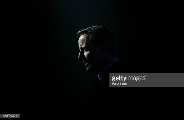 Prime Minister David Cameron delivers an election campaign speech at Bristol and Bath Science Park on April 6 2015 in Bristol England Britain goes to...