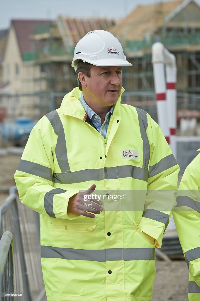 Prime Minister David Cameron during a visit to the new Taylor Wimpy Great Western Park housing estate on September 27 in Didcot, Oxfordshire, England. The Prime Minister makes a visit to Didcot ahead of the start of the Conservative Party Conference.