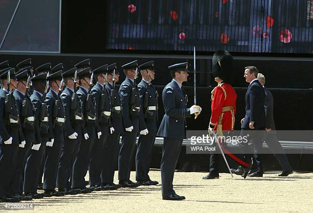 Prime Minister David Cameron during the VE Day Parade to mark the 70th anniversary of VE Day at Horse Guards Parade on May 10 2015 in London England