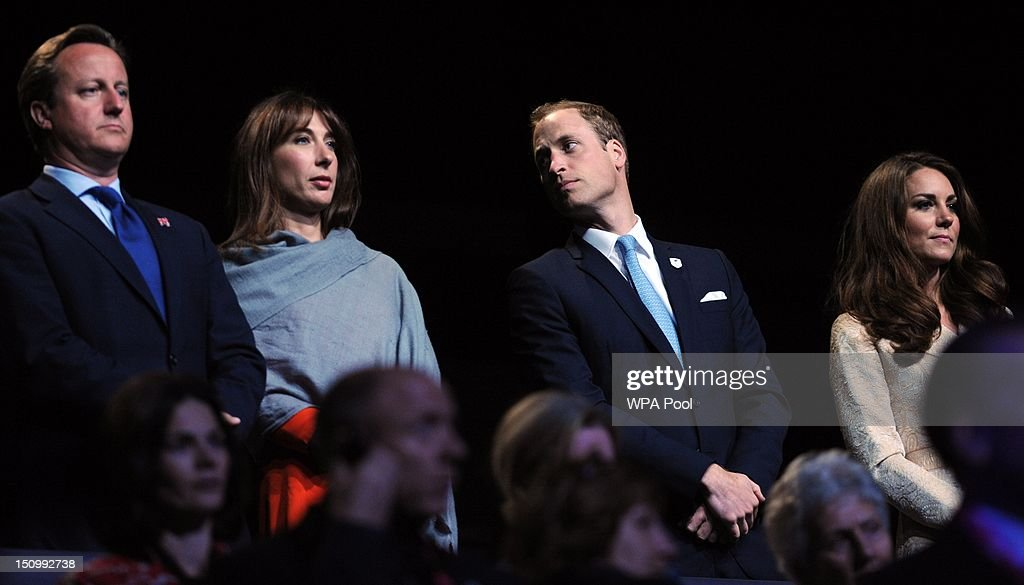 Prime Minister David Cameron, his wife Samantha Cameron and Prince William, Duke of Cambridge and Catherine, Duchess of Cambridge attend the opening ceremony of the London 2012 Paralympic Games during the opening ceremony at the Olympic Stadium on August 29, 2012 in London, England.
