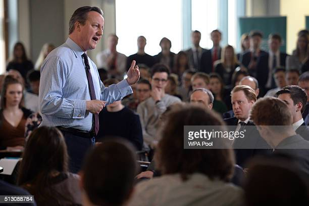 Prime Minister David Cameron holds a QA session with students at University Campus Suffolk ahead of the EU referendum on February 29 2016 in Ipswich...