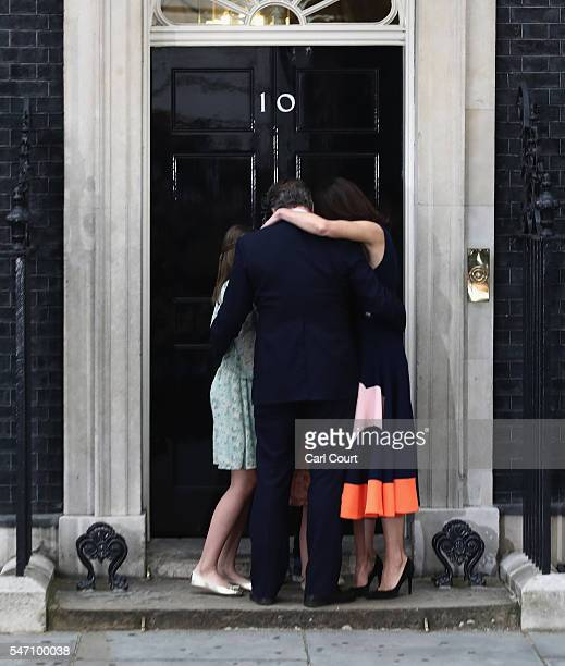 Prime Minister David Cameron hugs his wife Samantha Cameron and children Nancy Cameron Arthur Cameron and Florence Cameron as he leaves Downing...