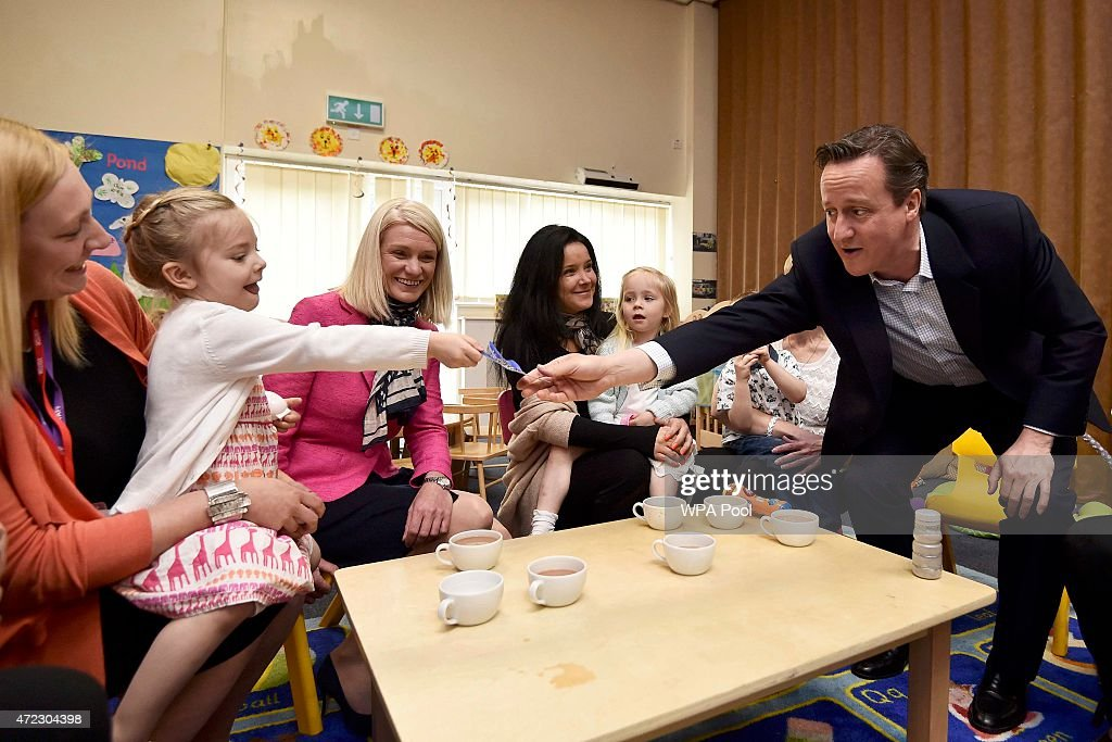 David Cameron Campaigns On Final Day Of Election : News Photo