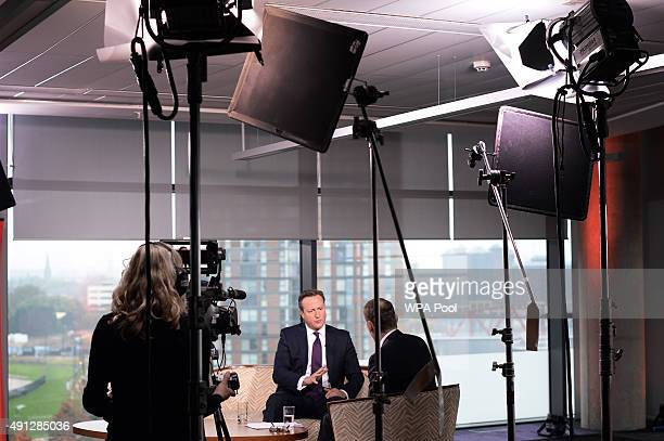 Prime Minister David Cameron is interviewed by Andrew Marr on his BBC1 current affairs programme at Media City before the start of the Conservative...