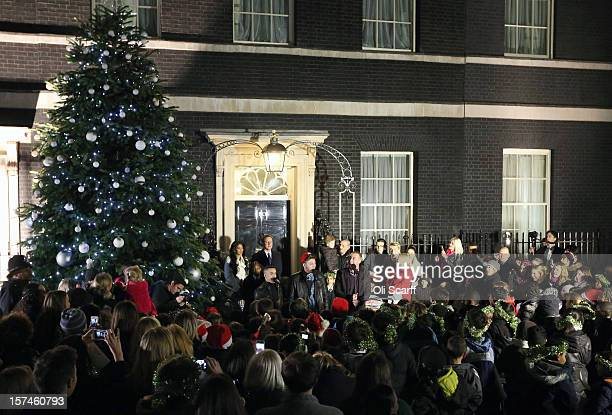 Prime Minister David Cameron is joined by singer Nicole Scherzinger and the finalists of the Xfactor programme, James Arthur, Jahmene Douglas and...