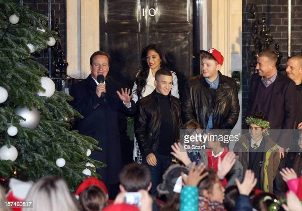 Prime Minister David Cameron is joined by singer Nicole Scherzinger and the finalists of the Xfactor programme James Arthur Jahmene Douglas and...