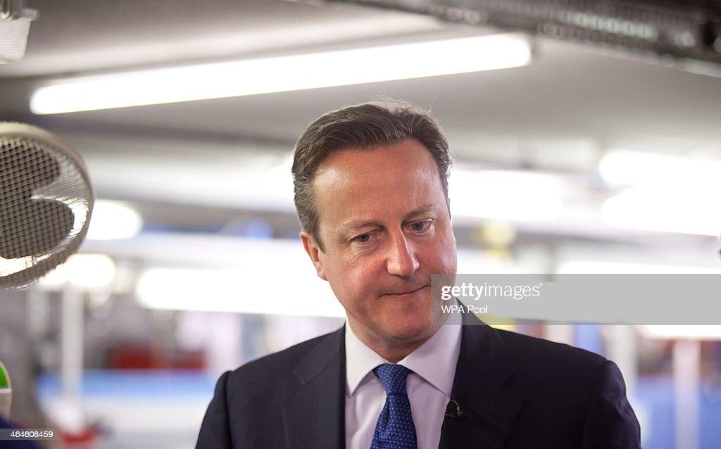 David Cameron Visits Ventilation Manufacturer Vent-Axia In Crawley : News Photo