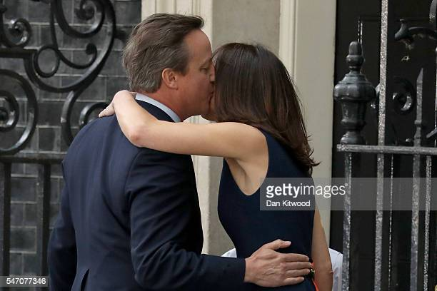 Prime Minister David Cameron kisses wife Samantha as he leaves Downing Street for the last time on July 13 2016 in London England David Cameron...