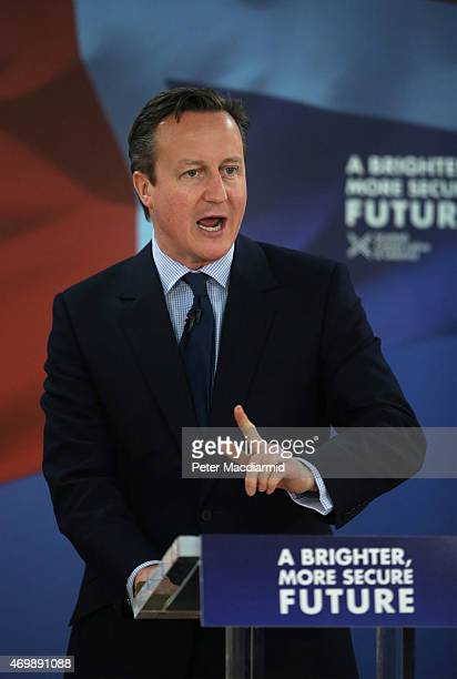 Prime Minister David Cameron launches the Scottish Conservatives election manifesto on April 16 2015 in Glasgow Scotland Later today opposition...