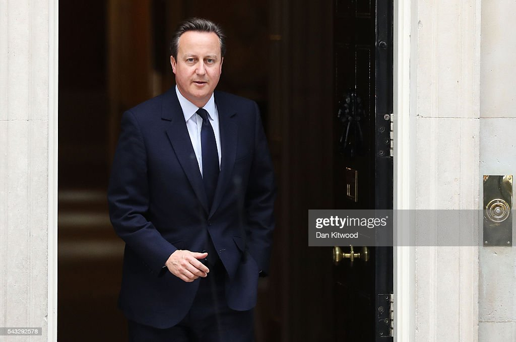 Prime Minister, David Cameron leaves 10 Downing Street following a cabinet meeting on June 27, 2016 in London, England. British Prime Minister David Cameron chaired an emergency Cabinet meeting this morning, after Britain voted to leave the European Union. Chancellor George Osborne spoke at a press conference ahead of the start of financial trading and outlining how the Government will 'protect the national interest' after the UK voted to leave the EU.
