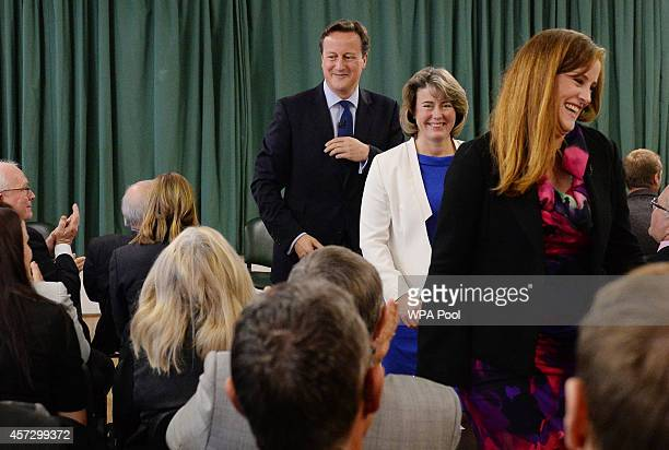 Prime Minister David Cameron leaves afer introducing the Conservative Party's two applicants councillors Anna Firth and Kelly Tolhurst for their...