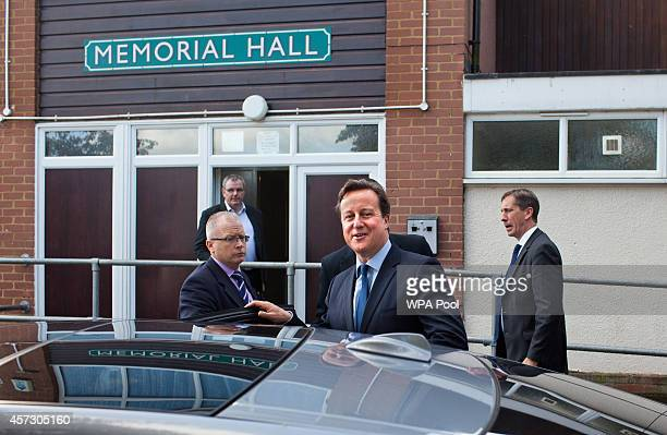 Prime Minister David Cameron leaves after introducing the Conservative Party's two applicants councillors Anna Firth and Kelly Tolhurst for their...