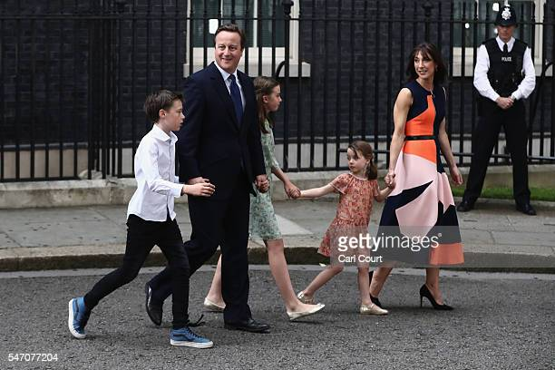 Prime Minister David Cameron leaves Downing Street for the last time with his wife Samantha Cameron and children Nancy Cameron Arthur Cameron and...