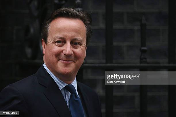 Prime Minister David Cameron leaves Downing Street on April 11 2016 in London England Mr Cameron is due to address Parliament following his decision...