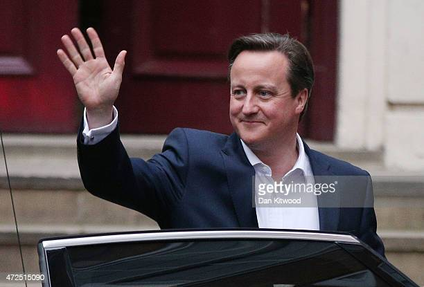 Prime Minister David Cameron leaves for Downing Street on May 8 2015 in London England After the United Kingdom went to the polls in a closely fought...
