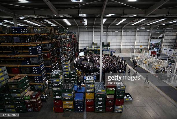 Prime Minister David Cameron makes a speech during a visit to an engineering factory on April 29 2015 in Birmingham England Mr Cameron laid out his...