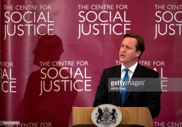 Prime Minister David Cameron makes a speech on criminal justice at The Centre For Social Justice on October 22 2012 in London England Cameron speech...