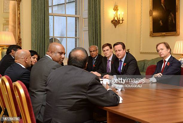 Prime Minister David Cameron meets leaders of the Tamil community in the UK at 10 Downing Street in London on November 7 ahead of his visit to Sri...