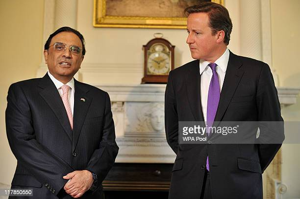 Prime Minister David Cameron meets Pakistani President Asif Ali Zardari at Number 10 Downing Street on July 1, 2011 in London, England. Mr Zardari is...