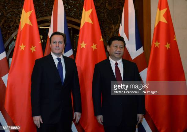 Prime Minister David Cameron meets President Xi Jinping at the State Guest House Diaoyupai in Beijing Mr Cameron is in China for a three day visit...