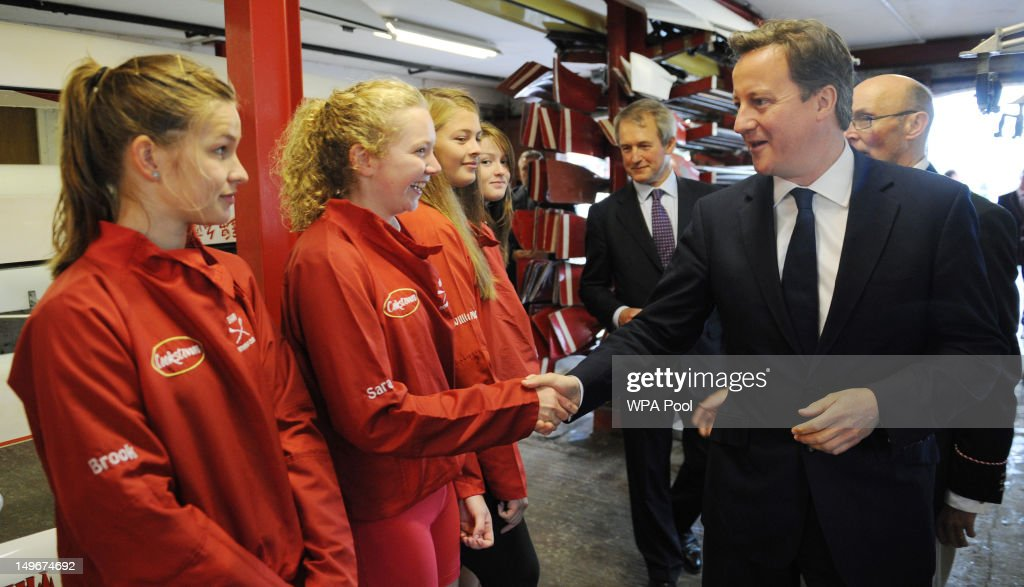 Prime Minister David Cameron meets rowers at Bann Rowing Club during a visit to the region on August 01, 2012 in Coleraine, Northern Irland. Cameron visited the home club of one of the top British rowers, Alan Campbell, just ahead of his next stage in the Olympics semi-final race.