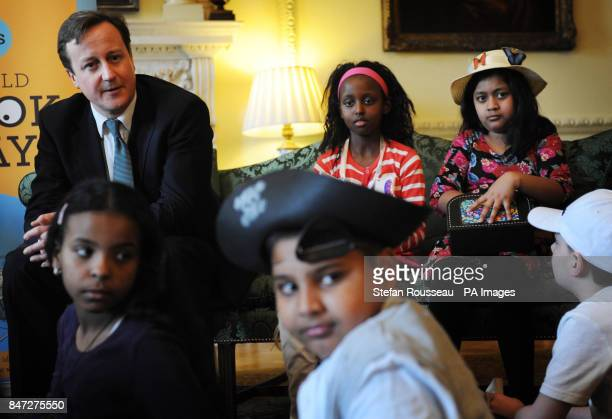 Prime Minister David Cameron meets school children from Churchill Garden Primary School at Downing Street in London today where spoke to them about...
