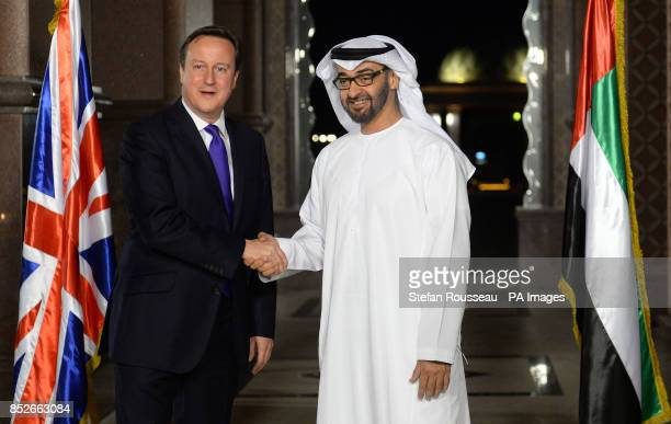 Prime Minister David Cameron meets the Crown Prince of Abu Dhabi Sheikh Mohamed bin Zayed Al Nahyan at the Emirates Palace Hotel in Abu Dhabi during...