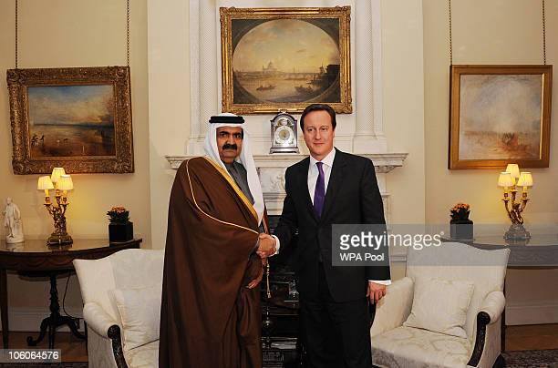 Prime Minister David Cameron meets the Emir of Qatar Sheikh Hamad bin Khalifa alThani at Downing St on October 26 2010 in London United Kingdom The...