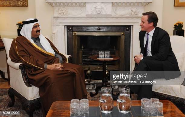 Prime Minister David Cameron meets the Emir of Qatar Sheikh Hamad bin Khalifa alThani at Downing St in London