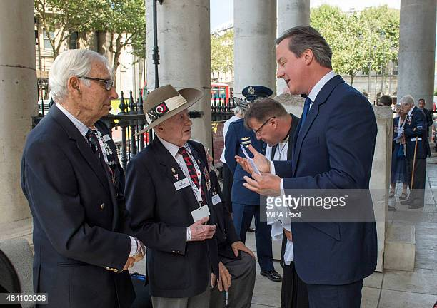 Prime Minister David Cameron meets Veterans during the 70th Anniversary commemorations of VJ Day at St MartinintheFields Church on August 15 2015 in...