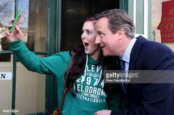 Prime Minister David Cameron meets with local people as he campaigns on April 13 2015 in Alnwick England As the general election campaign enters it's...