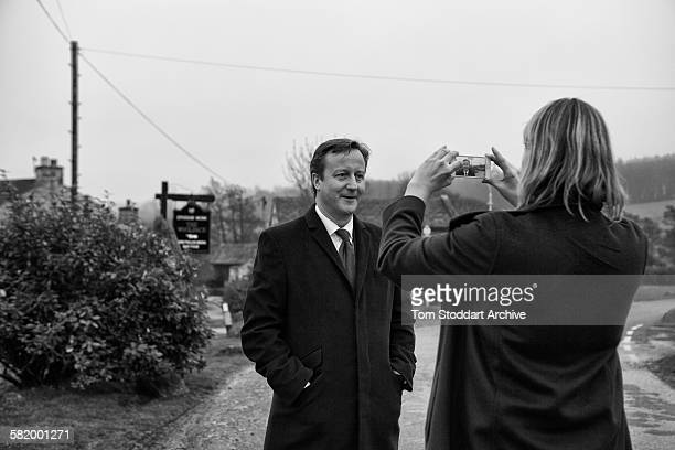 Prime Minister David Cameron pictured being interviewed for Youtube outside the Woolpack pub on the set of Emmerdale Yorkshire The Prime Minister and...