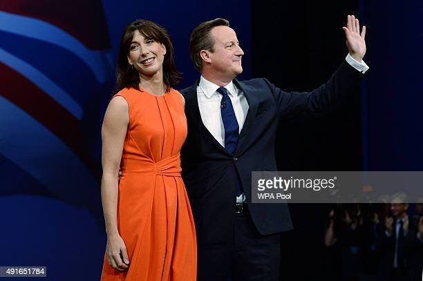 Prime Minister David Cameron poses with wife Samantha after his keynote speech on the fourth and final day of the Conservative Party Conference at...