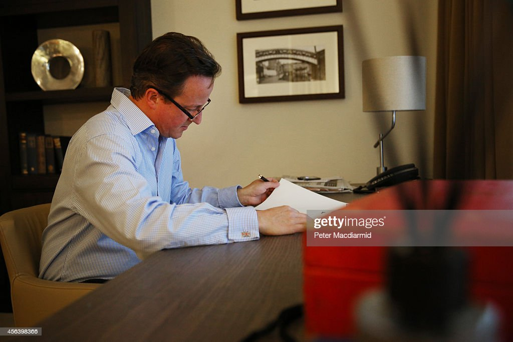 Prime Minister David Cameron prepares his keynote speech in his hotel room at the Conservative party conference on September 30, 2014 in Birmingham, England. Tomorrow is the final day of conference.