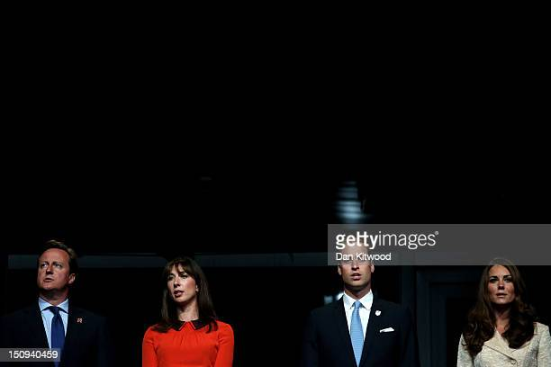 Prime Minister David Cameron Samantha Cameron Prince William Duke of Cambridge and Catherine Duchess of Cambridge look on during the Opening Ceremony...