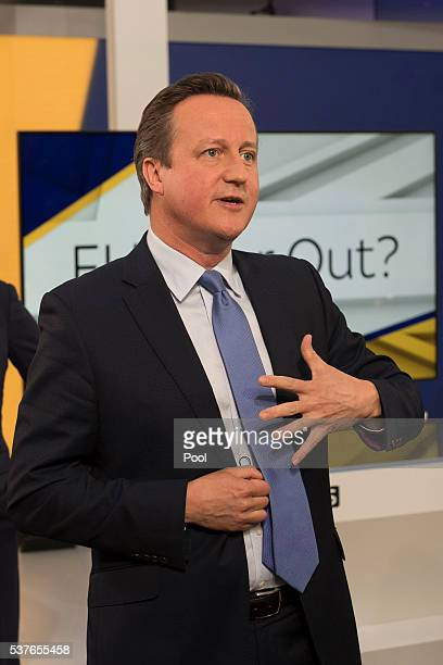 Prime Minister David Cameron speaks after attending a Sky News interview with Faisal Islam followed by an audience Q and A session hosted by Kay...