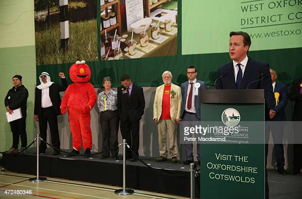 Prime Minister David Cameron speaks after winning his constituency declaration on May 8 2015 in Witney England The United Kingdom has gone to the...