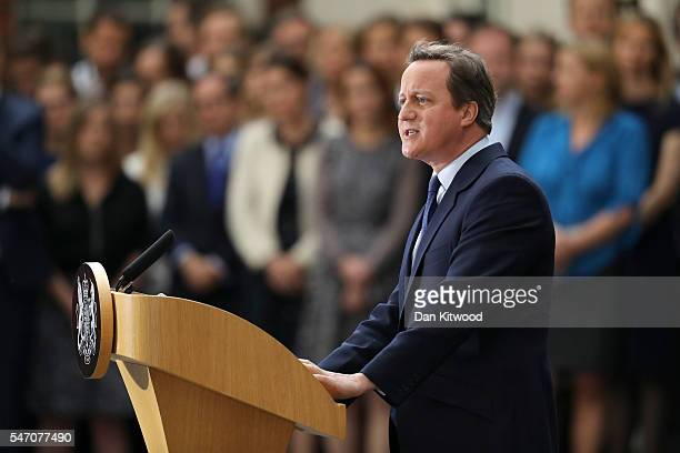Prime Minister David Cameron speaks as he leaves Downing Street for the last time on July 13 2016 in London England David Cameron leaves Downing...