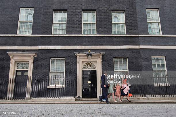 Prime Minister David Cameron speaks as he leaves Downing Street for the last time with his wife Samantha Cameron and children Nancy Cameron Arthur...