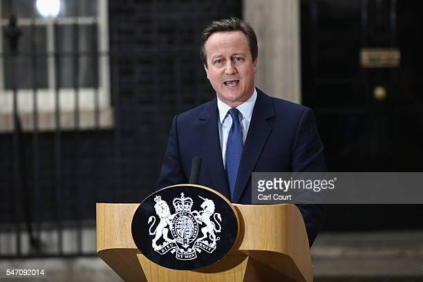 Prime Minister David Cameron speaks as he leaves Downing Street for the last time on July 13, 2016 in London, England. David Cameron leaves Downing...