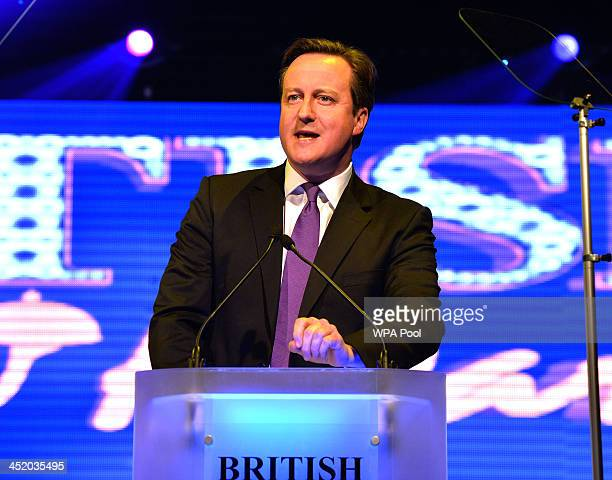 Prime Minister David Cameron speaks at the British curry awards at Battersea Evolution on November 25 2013 in London England The annual event has...
