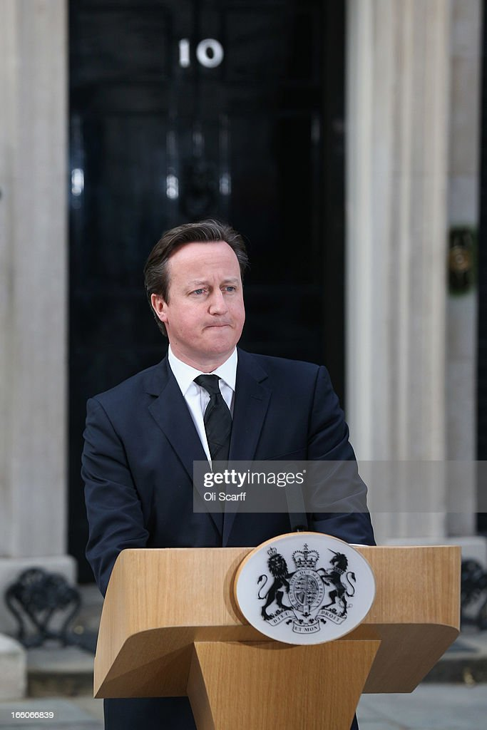 Prime Minister David Cameron speaks outside Downing Street following the death of former Prime Minister Margaret Thatcher on April 8, 2013 in London, England. Lord Bell, spokesperson for Baroness Margaret Thatcher, announced in a statement that the former British Prime Minister died peacefully following a stroke on 8th April, aged 87.