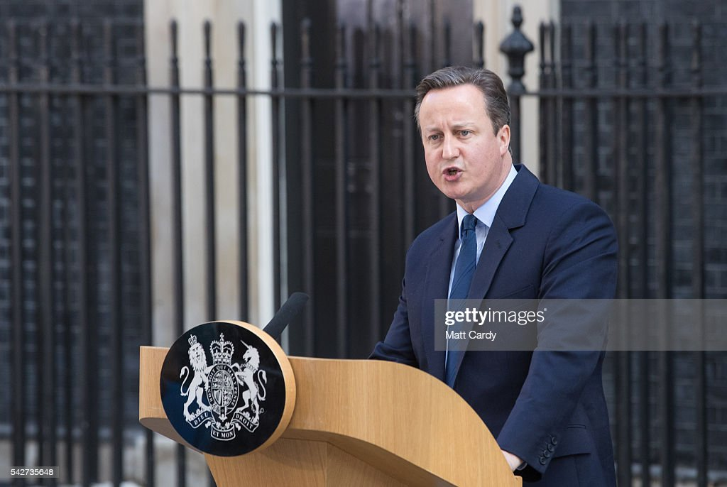 Prime Minister David Cameron speaks outside Downing Street on June 24, 2016 in London, England. The results from the historic EU referendum has now been declared and the United Kingdom has voted to LEAVE the European Union.
