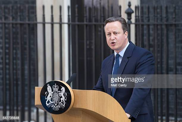 Prime Minister David Cameron speaks outside Downing Street on June 24 2016 in London England The results from the historic EU referendum has now been...