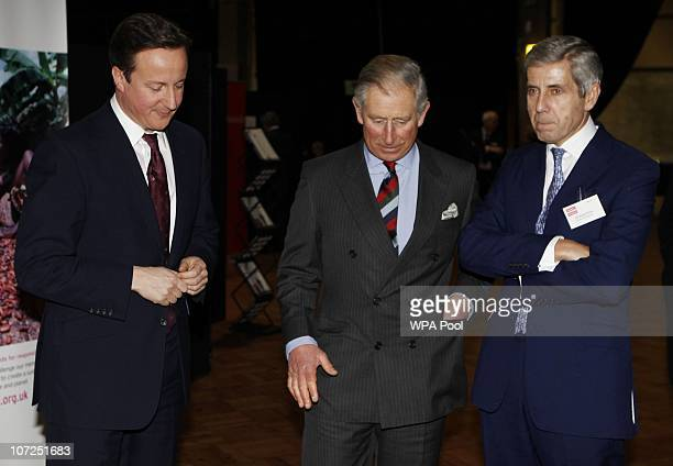 Prime Minister David Cameron speaks with Prince Charles and Marks Spencer Chairman Stuart Rose during the Business in the Community annual general...