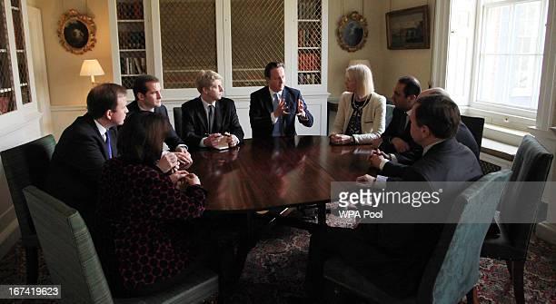 Prime Minister David Cameron talks to members of his new advisory board on policy Jane Ellison Jesse Norman Jake Berry Jo Johnson Margot James Paul...