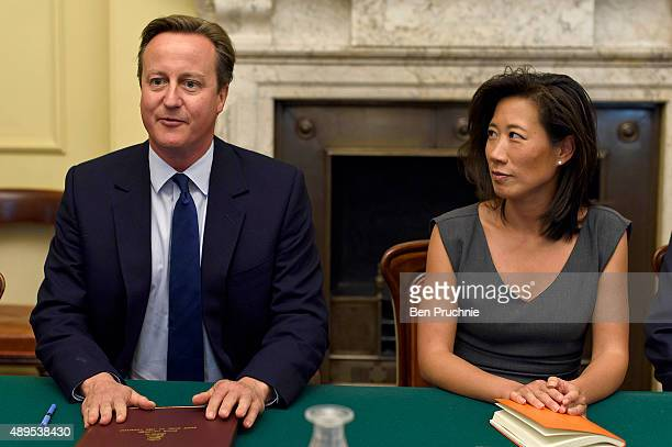Prime Minister David Cameron talks with Eileen Burbidge during a Business Advisory Board meeting at Downing Street on September 22 2015 in London...