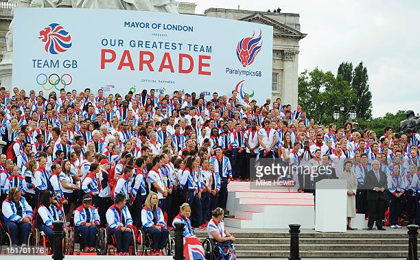 Prime Minister David Cameron the Princess Royal and Mayor of London Boris Johnson address Team GB during the Olympics Paralympics Team GB London 2012...