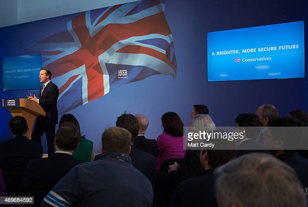 Prime Minister David Cameron unveils the Conservative party manifesto on April 14 2015 in Swindon England The Conservatives have launched their...