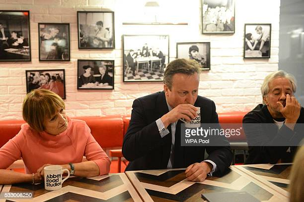 Prime Minister David Cameron visits Abbey Road studios with Tessa Jowell former secretary of state for culture media and sport and artist Anish...